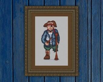 Old pirate - cross stitch pattern PDF