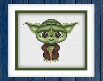 Yoda - cross stitch pattern PDF   Star wars cross stitch   Movie cross stitch   Modern cross stitch   Geeky cross stitch