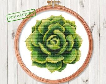 Succulent Cross Stitch Pattern Flower Modern Cross Stitch  Easy  Cactus Cross Stitch Pattern PDF Instant Download