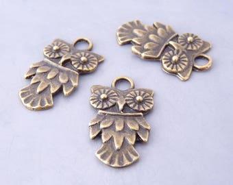 30 charms pendants OWL / OWL 19 x 10 mm - bronze (BP1405)
