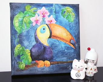 Watercolor on canvas: Toucan there