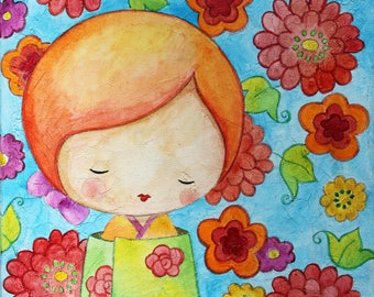 "KOKESHI - Watercolor on canvas: ""Bohemian Michiko"""