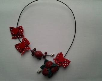 Raspberry neck and bow necklace