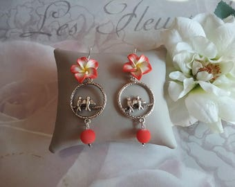 Earrings dangling tiare flower and swallows