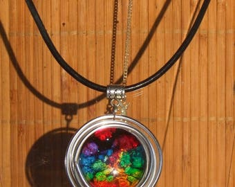 Necklace black leather, aluminium and pendant handmade colorful round glass cabochon