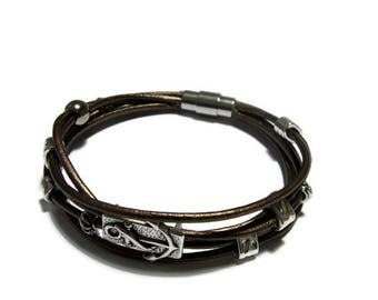 Loops and bronze leather cord men bracelet silver