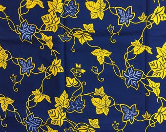"Beautiful African wax print ""The potato leaf"" yellow"