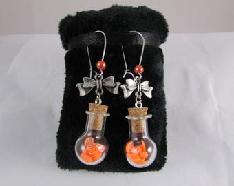 """Orange slices & bubble vial"" earrings"