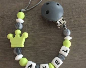 PACIFIER GRAY AND LIME GREEN - IDEAL BIRTH GIFT