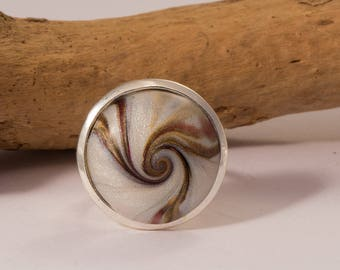 round ring set cabochon swirl polymer clay