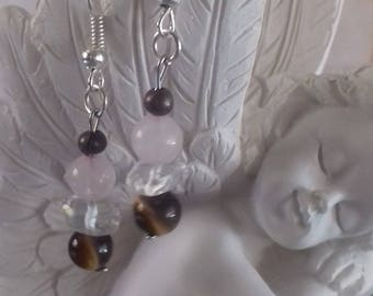 Earrings with 3 stones: Tiger's eye, rose Quartz and rock crystal