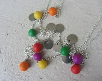 Long boho necklace 3 in 1, Bohemian, gold beads of polymer clay colorful vivid colors and sequins in silver