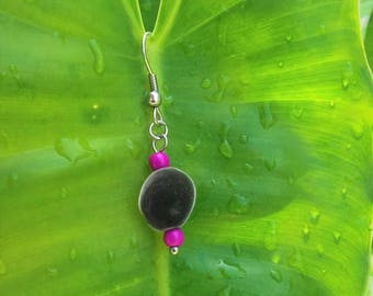 Purple howlite stone on stainless steel and zanzibar seed earrings