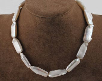 Cultured fresh water Pearl Necklace shaped rectangular 23X12XEp5.7mm