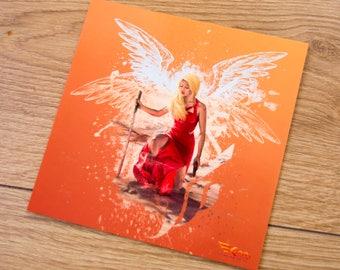 Postcard / / Square format / / Woman and wings / / Fantasy and heroic style / / Kaya Team Universe / / Novel Kaya Dove