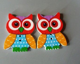 button (embellishment) wooden OWL duo