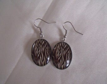 black and white oval cabochon earrings