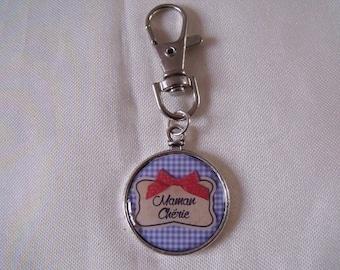 Silver Mommy key chain