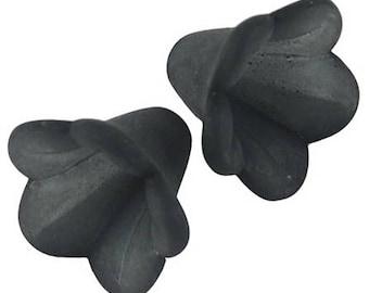 10 flowers black synthetic Tulip 1.4 cm in diameter 1 cm long