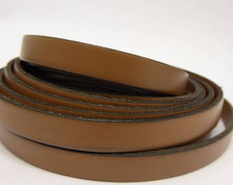 19 cm flat leather strap Brown 10 mm wide