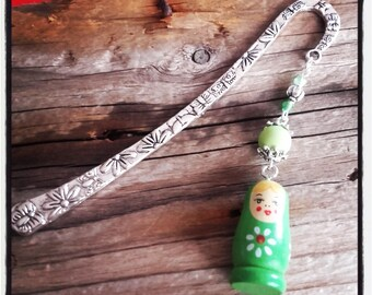 Bookmark silver flowers / butterfly and Russian doll charm / green beads