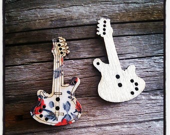 set of 2 buttons flowered guitar wood covered with fabric, 34 mm red and gray