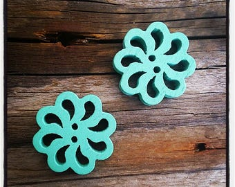 set of 2 fancy wood, rose, turquoise flower buttons