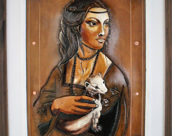 """Medieval Renaissance on tooled embossed leather painting portrait of Art """"the Lady in ermine"""" inspired by da Vinci gilded with gold foil"""