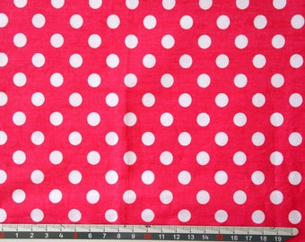 "Fuchsia white ""Dots"" pattern cotton fabric"
