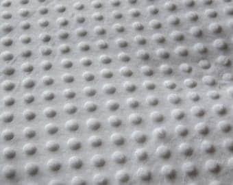 Minkee white polka dot pattern fabric