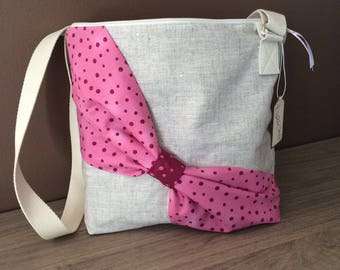 Pink bag shoulder linen coated and strung