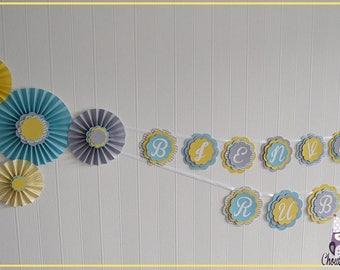 """""""Welcome Ruben"""" 3D - yellow blue gray Rosette Garland"""
