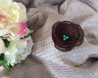 Flower 6 cm Brown organza with turquoise beads