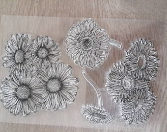 Stamps transparent clear flowers