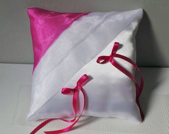 White/fuchsia ring bearer pillow