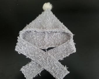 Hat and scarf (6 months-36 months) light gray with a Pompom fur 6 months to 3-4 years more