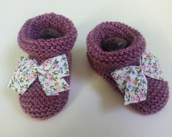 Little feet Heather wool boots 6-9 months enhanced with a bow-liberty slippers - gift idea birth