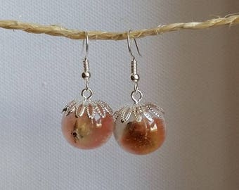 Pink kitten earrings ears round 1.8 cm resin inclusion of dried flowers
