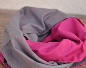 Fuchsia pink and grey Snood for women