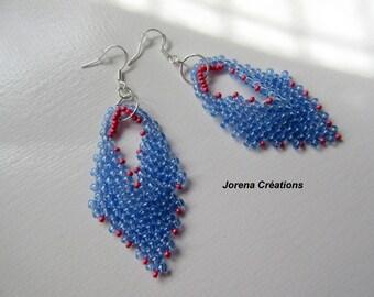 Russian leaf pendants earrings seed beads