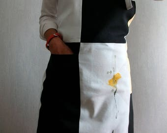 Apron for woman, linen black, white and Ochre yellow flower