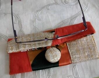 Beige and orange patchwork eyeglasses pouch