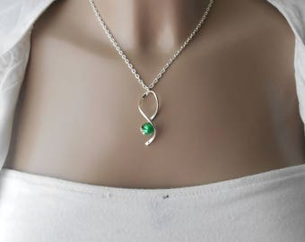 Hurricane pendant necklace with Green Pearl