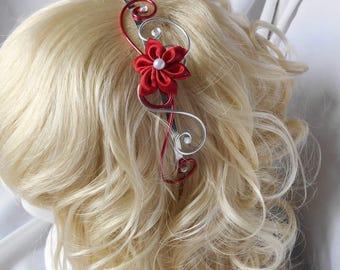 Headband with Red satin flower