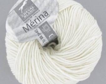 yarn 100% wool MERINA # 016 ecru white horse