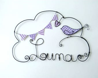 """Name personalized wire """"A bird on branch"""" decoration for child's room wall cloud"""