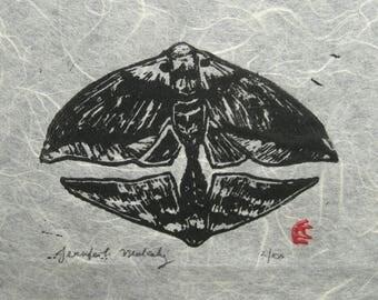 Moths Linocut Block Print Natural Thai Unryu Paper