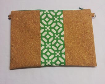 Cork and geometric green and white polyester fabric pouch