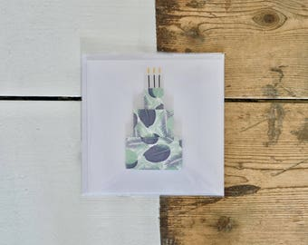 Leaf Tiered Birthday Cake Card