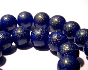 30 beads in glass - 10 mm - effect glitter Golden-Blue - Pearl glass-K28